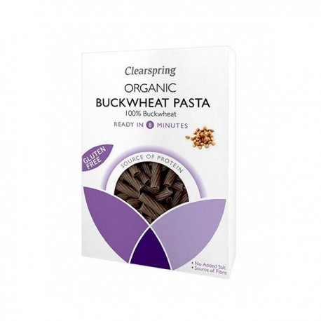 Buckwheat tortiglioni pasta organic gluten free 250 gramos Marca Clearspring