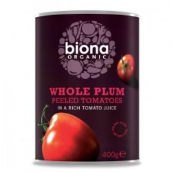 WHOLE PLUM PEELED TOMATOES ORGANIC 400GRS