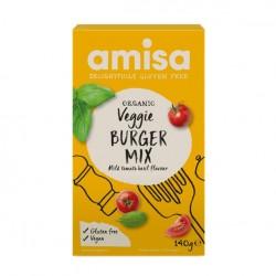 Mezcla organica de hamburguesas vegetarianas sin gluten con tomate y albahaca 140 gramos Marca Amisa