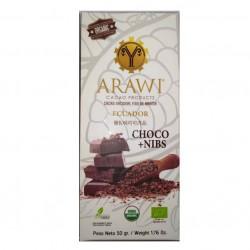 Barra choconibs 70% cacao organico 50 gramos Marca Arawi