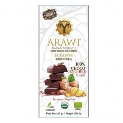 Barra chocojengibre 100% cacao organico 50 gramos Marca Arawi