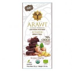 Barra chocojengibre 70% cacao organico 50 gramos Marca Arawi