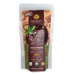 Cobertura de choco menta organica al 100% gotas 140 gramos Marca Arawi