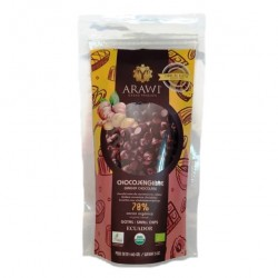 Cobertura de choco jengibre organica al 70% gotas 140 gramos Marca Arawi