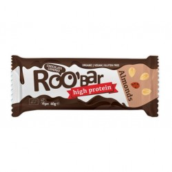 Almond & protein bar covered with chocolate 16 x 40 gramos Marca Roobar