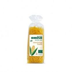 Fussili corn & rice organic gluten free 500 gramos Marca Amisa