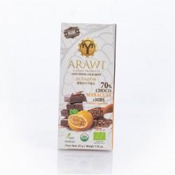 Barra choco maracuya + nibs organica 70% 50 gramos Marca Arawi