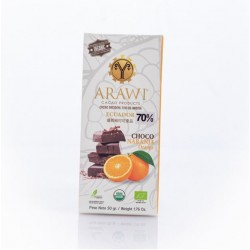 Barra choco naranja organica 70% 50 gramos Marca Arawi